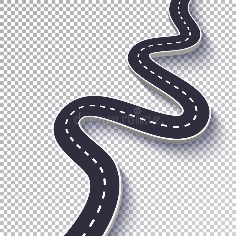 Winding Road Isolated Transparent Special Effect. Road way location infographic template. EPS 10. Winding Road Isolated Transparent Special Effect. Road way