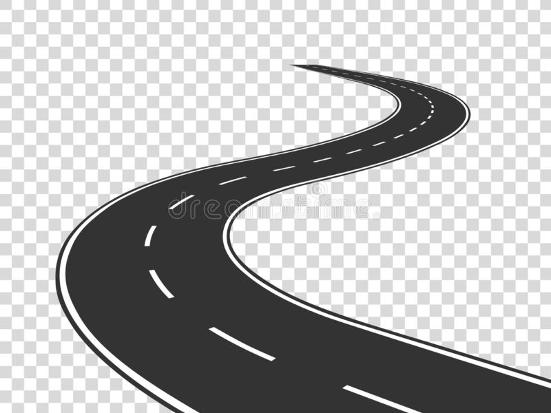 Winding road. Journey traffic curved highway. Road to horizon in perspective. Winding asphalt empty line isolated royalty free illustration