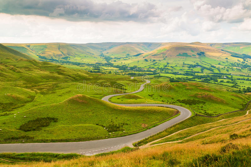 Winding Road from Mam Tor royalty free stock photos