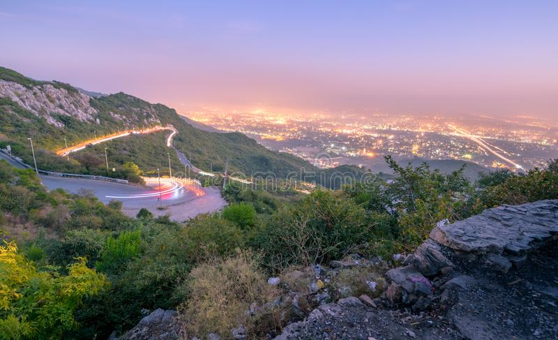 Margalla Hills Islamabad Pakistan. Winding road of margalla hills in Islamabad, Pakistan stock image