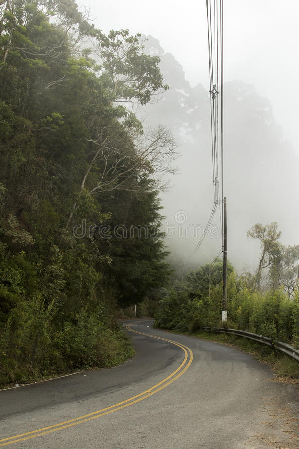 Winding road in the mountains with fog in a cold winter day. At campos do jordao brazil stock image