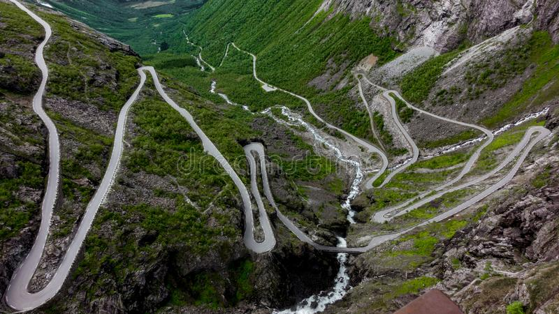 The winding road in the mountains stock photo