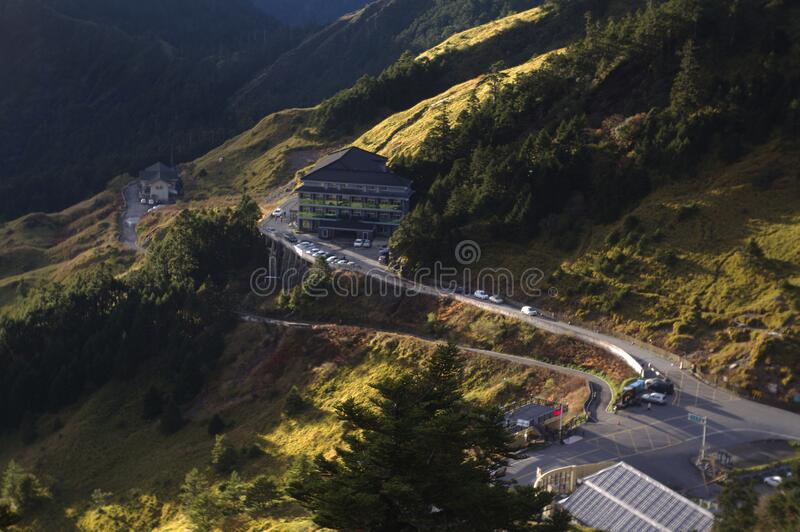 Winding road on mountainside royalty free stock photo