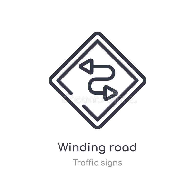 Winding road outline icon. isolated line vector illustration from traffic signs collection. editable thin stroke winding road icon. On white background royalty free illustration