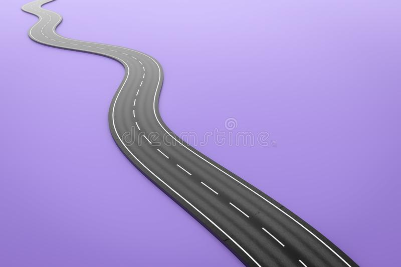 A winding road on a purple background. 3d illustration of a winding road on a purple background vector illustration
