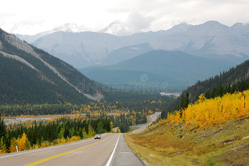 Winding road in river valley stock images
