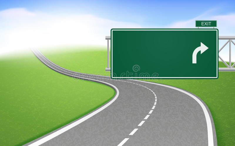 Winding road with road sign. Over bright background royalty free illustration