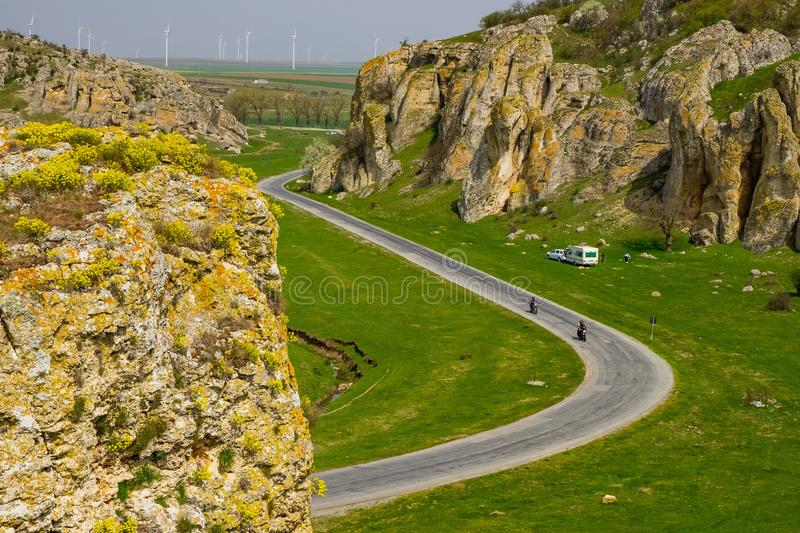 Winding Road through the rocks stock photography