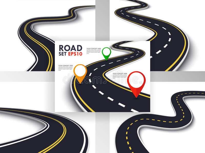 Winding Road Set. Trip and Journey Route. Business and Journey Infographic Design Template with Pin Pointer. Winding Road on a White Isolated Background. 3D royalty free illustration