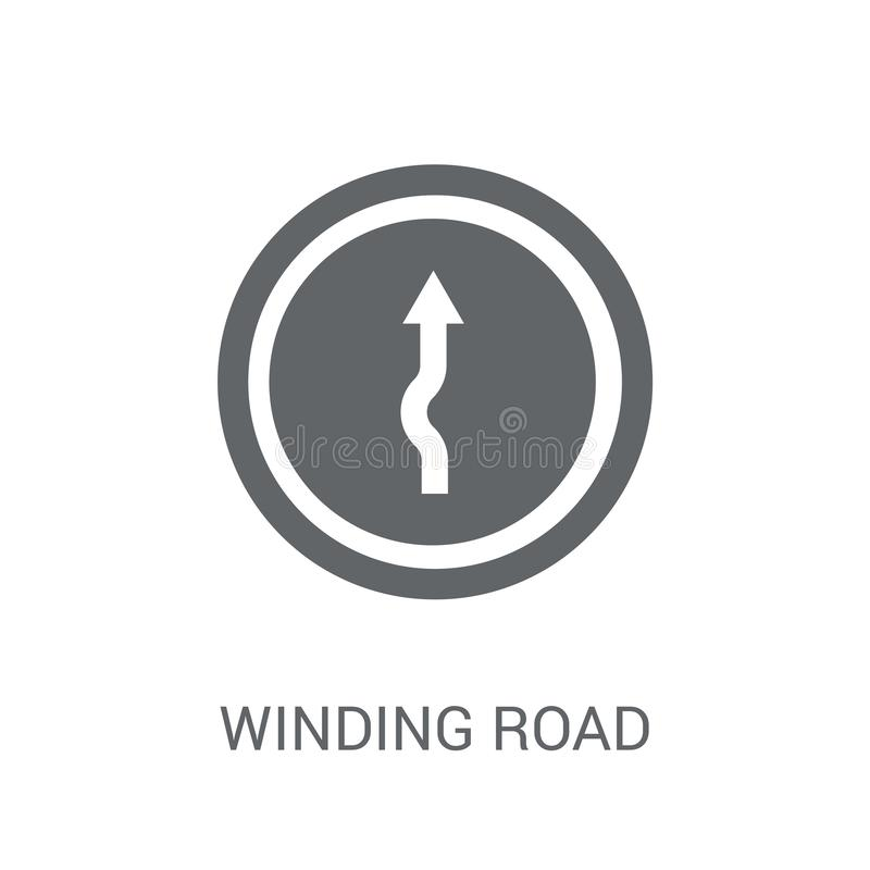 Winding road sign icon. Trendy winding road sign logo concept on. White background from Traffic Signs collection. Suitable for use on web apps, mobile apps and royalty free illustration