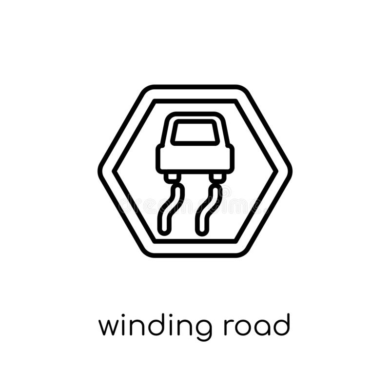 Winding road sign icon. Trendy modern flat linear vector winding. Road sign icon on white background from thin line traffic sign collection, editable outline stock illustration