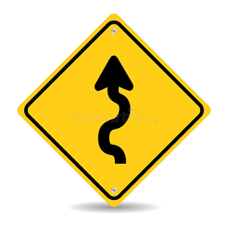 Winding Road Sign. Isolated On White Background royalty free illustration