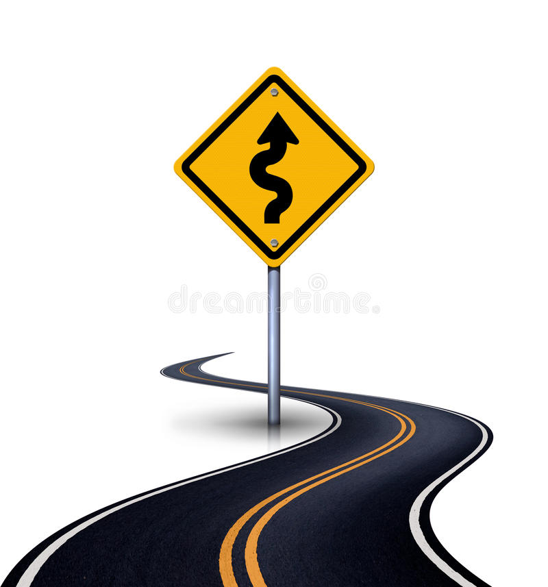 Winding road with a sign winding road. Isolation on a white background vector illustration