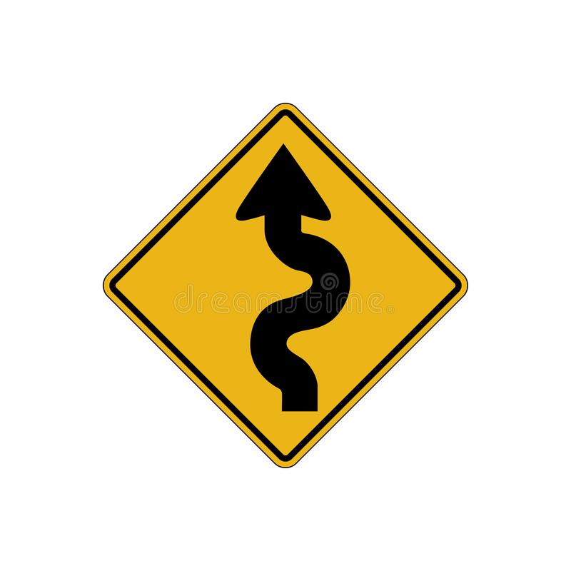 Winding road sign. Vector isolated royalty free illustration