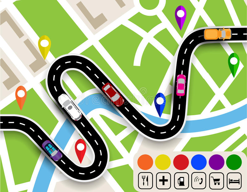 Winding road with signs. City map. Movement of vehicles. The path specifies the navigator. illustration. Winding road with signs. City map. Movement of vehicles vector illustration