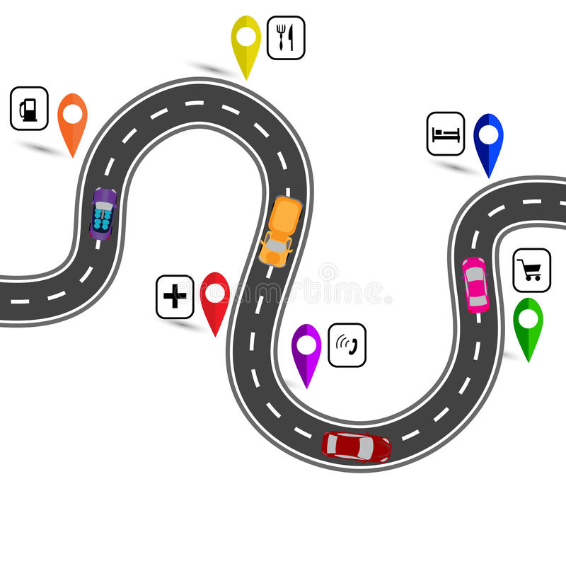 Winding road with signs. The path indicated by the navigator. illustration. Winding road with signs. The path indicated by the navigator. Vector illustration royalty free illustration