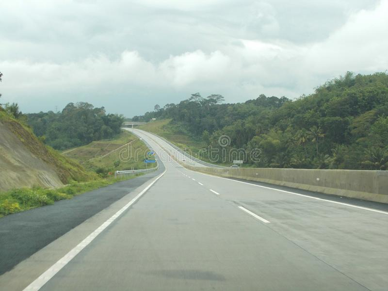 Winding road on thr toll stock image