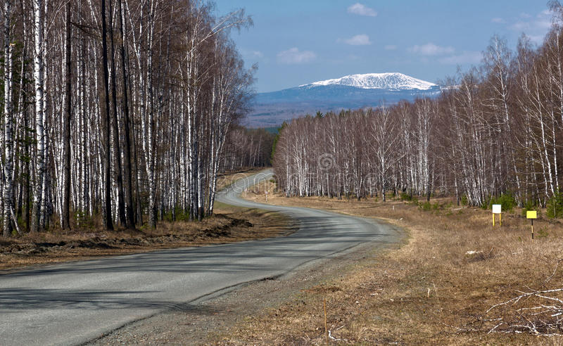 Winding road to mountain. Winding road to the peak of mountain stock photography