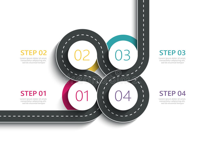 Winding road way location infographic template with a phased structure. Business circle template with options for brochure, diagram, workflow, timeline, web stock illustration