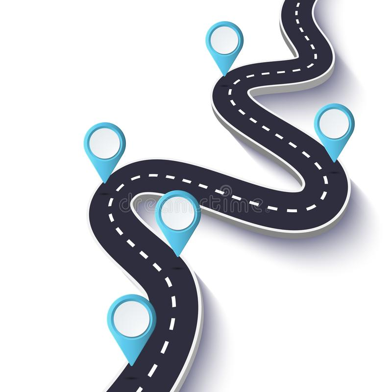 Winding Road on a White Isolated Background. Road way location infographic template with pin pointer. Vector EPS 10 royalty free illustration