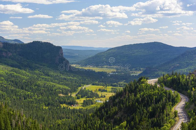 Winding Road Wolf Creek Pass Highway 160 in Colorado on a Sunny Day royalty free stock photos