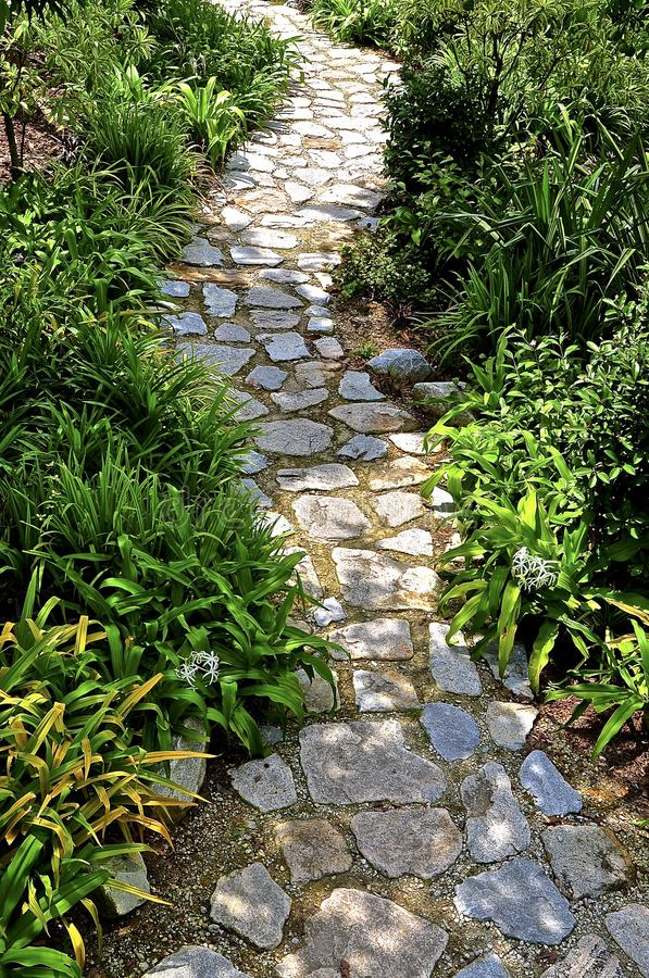 Winding stone pathway in a park royalty free stock photo