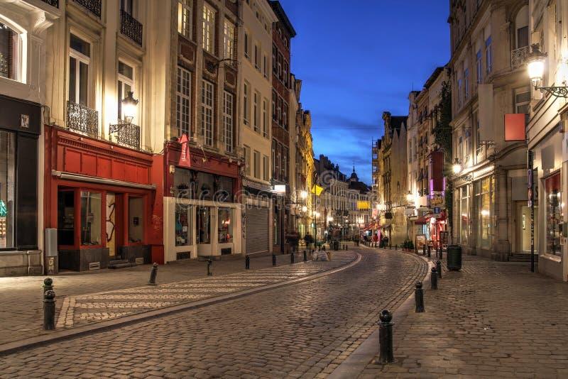 Winding Street, Brussels, Belgium. A winding street in downtown Brussels, Belgium at night stock photography