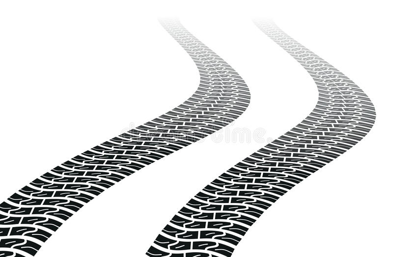 Winding trace of the tires. Vector illustrations of the Winding trace of the tires stock illustration