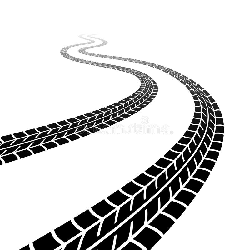 Winding trace of the tyres vector illustration