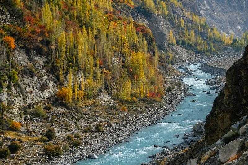 Winding river flowing through Karakoram mountain range along colorful foliage trees in autumn stock photo