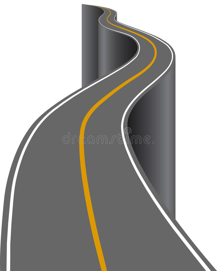 Winding up road. Isolated on a white background vector illustration