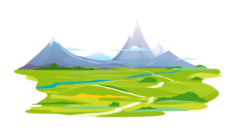 Winding Way to the Mountains. Winding way in the picturesque valley leads to the high mountains with sharp peaks and green piedmont, nature landscape, tourist royalty free illustration