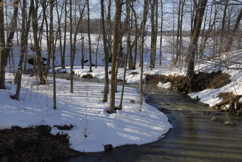 Download Winding Winter Stream stock image. Image of nature, snow - 4807731