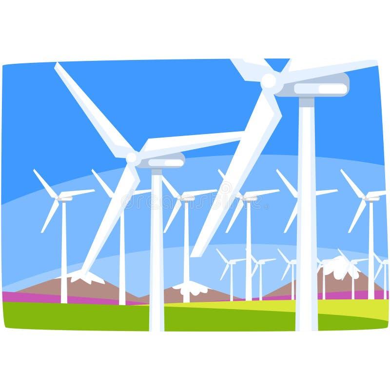 Windkraftanlage, ökologische Energieproduktionsstation, horizontale Vektorillustration der erneuerbaren Ressourcen stock abbildung