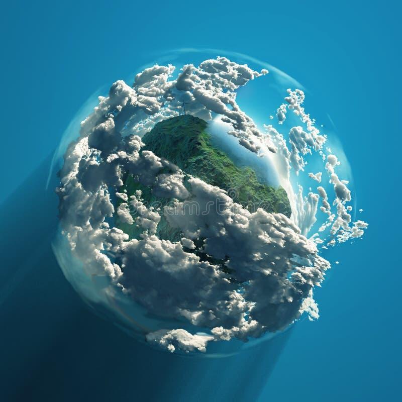 Windkraftanlage auf grünem Planeten lizenzfreie abbildung