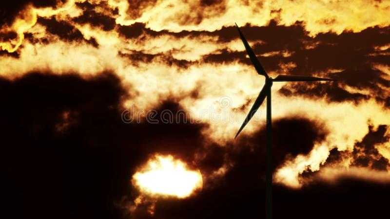 Windkraftanlage bei Sonnenaufgang stockfotografie