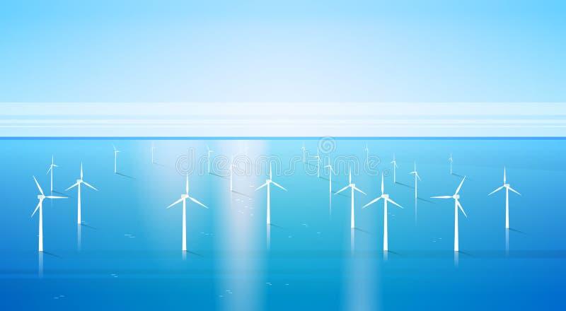 Windkraftanlage-Energie-auswechselbarer Wasser-Stations-Seehintergrund stock abbildung