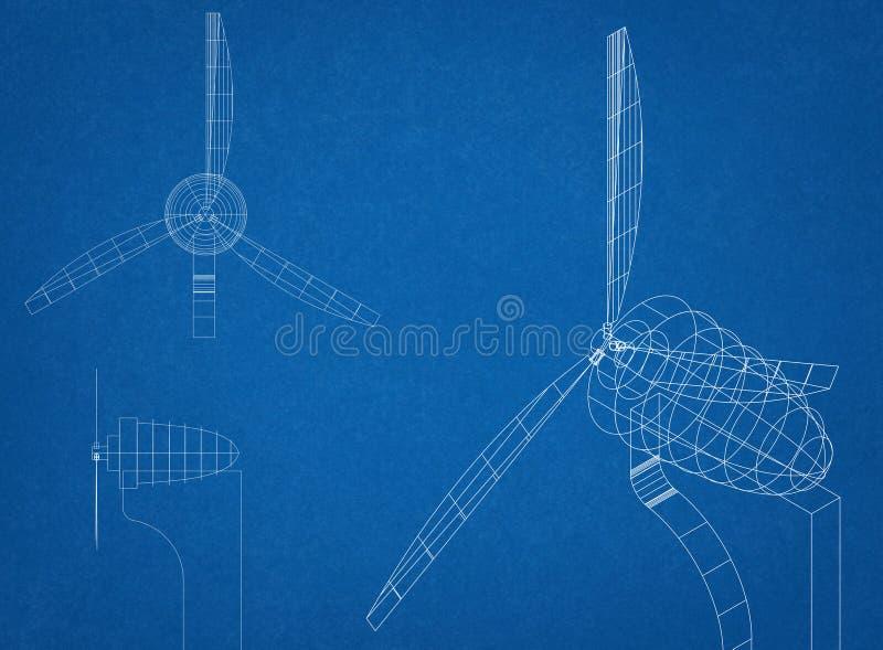 Windkraftanlage-Plan stockfotografie