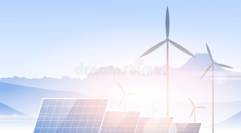 Windkraftanlage-Sonnenkollektor-alternative Energie-Quellnatur-Hintergrund-Fahne lizenzfreie abbildung