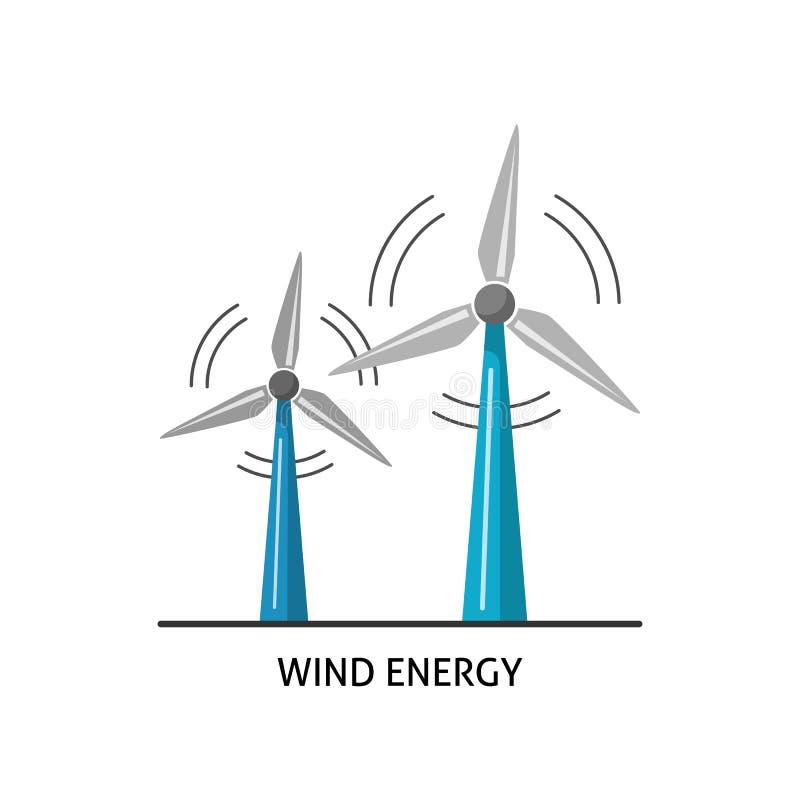 Windkraftanlageikone in der flachen Art lizenzfreie abbildung