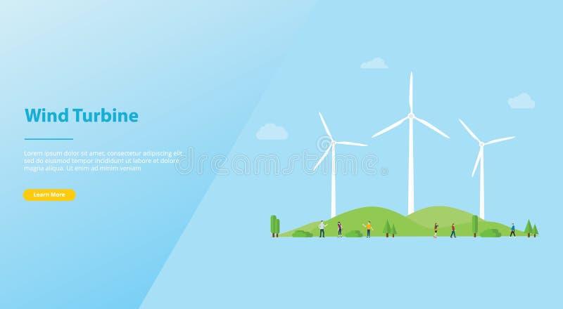 Windkraftanlagekonzept auf der Stadt für Energieenergie mit moderner flacher Art für Website- oder Netzlandungshomepage-Entwurf - stock abbildung
