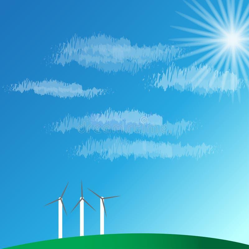 Windkraftanlagelandschaft und blauer Himmel auf Gebirgsvektorillustrationen vektor abbildung