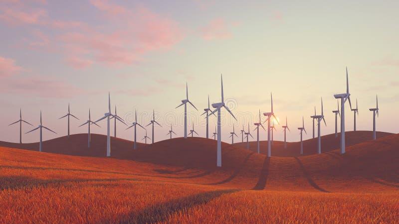 Windkraftanlagen auf roten Hügeln bei Sonnenuntergang vektor abbildung
