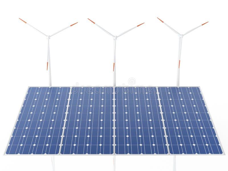 Windkraftanlagen 3d und Sonnenkollektoren, alternative Energie stock abbildung