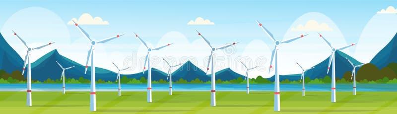 Windkraftanlagen fangen saubere Stationskonzeptnaturlandschafts-Flussberge der alternativen Energie Quellauswechselbare auf stock abbildung