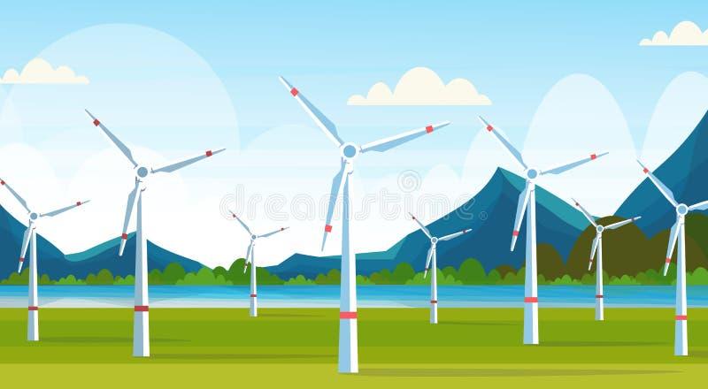 Windkraftanlagen fangen saubere Stationskonzeptnaturlandschafts-Flussberge der alternativen Energie Quellauswechselbare auf lizenzfreie abbildung