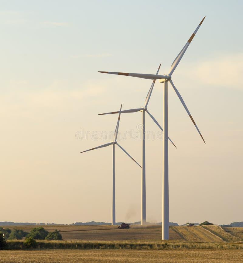Windkraftanlagen, reine Energie, Windmühlen auf den Gebieten lizenzfreie stockbilder
