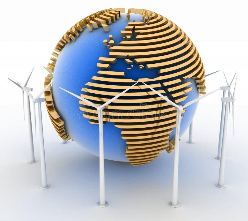 Windkraftanlagen und Erde. Alternative Energie-Konzept. stock abbildung