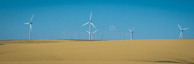 Windkraftanlagen, Weizenfelder, Staat Washington stockbild