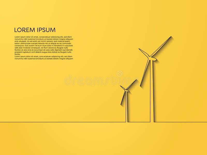 Windkraftanlagevektorkonzept, Linie Kunst auf gelbem Hintergrund Symbol der auswechselbaren Energie, alternative Quellen, neu, sa stock abbildung